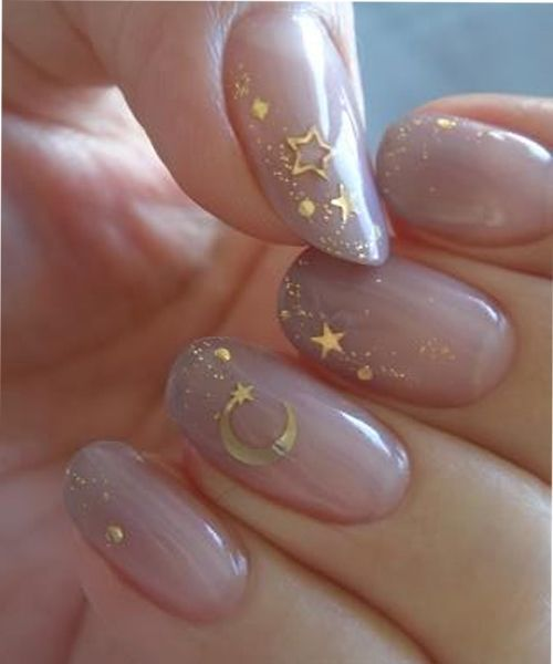 New Fantastic Cresent and Stars Party Nail Art Designs