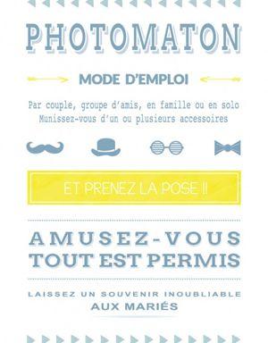 Voici un nouveau produit dans le shop, une affiche photobooth à personnaliser aux couleurs de votre mariage et disponible en 5 formats différents : A4, A3, A2 et A0. Les invités ne savent pas toujours ce qu'est un «Photobooth», donc je vous propose de les guider avec cette affiche qui leur explique ce qu'ils peuvent