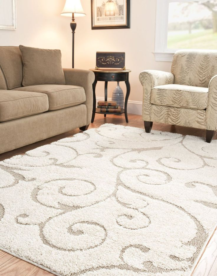 Elegant Cream And Beige Shag Area Rug For Living Room