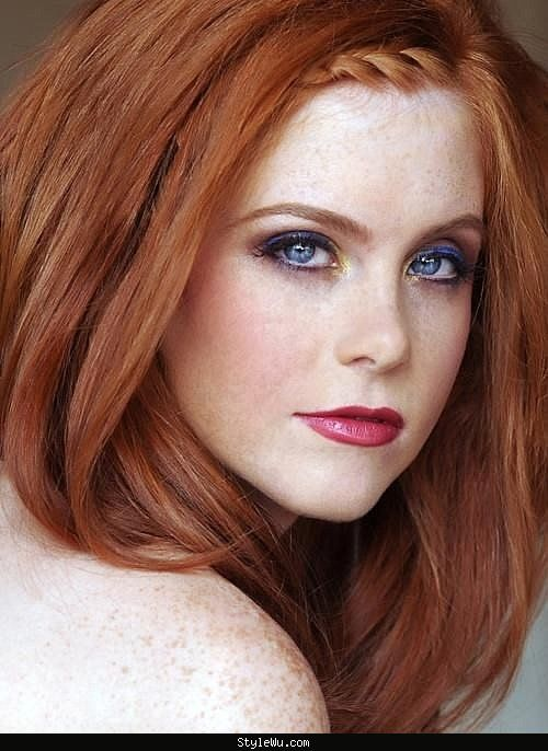Red hair, blue eyes, pale skin, and freckles. My 2nd dream girl ... StyleWu