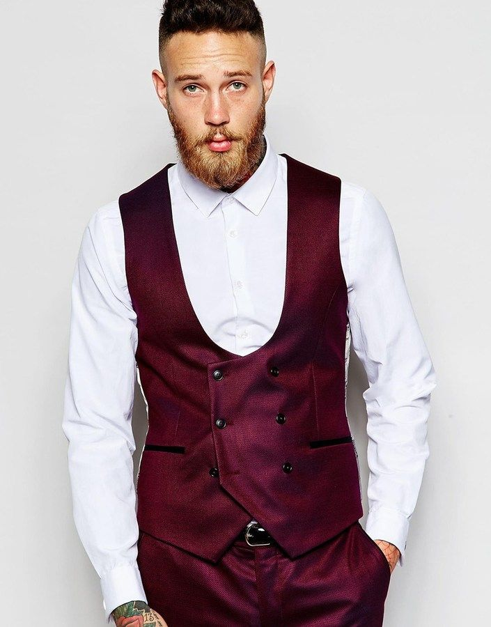 Noose & Monkey Tuxedo Double Breasted Waistcoat With Stretch in Skinny Fit - Red