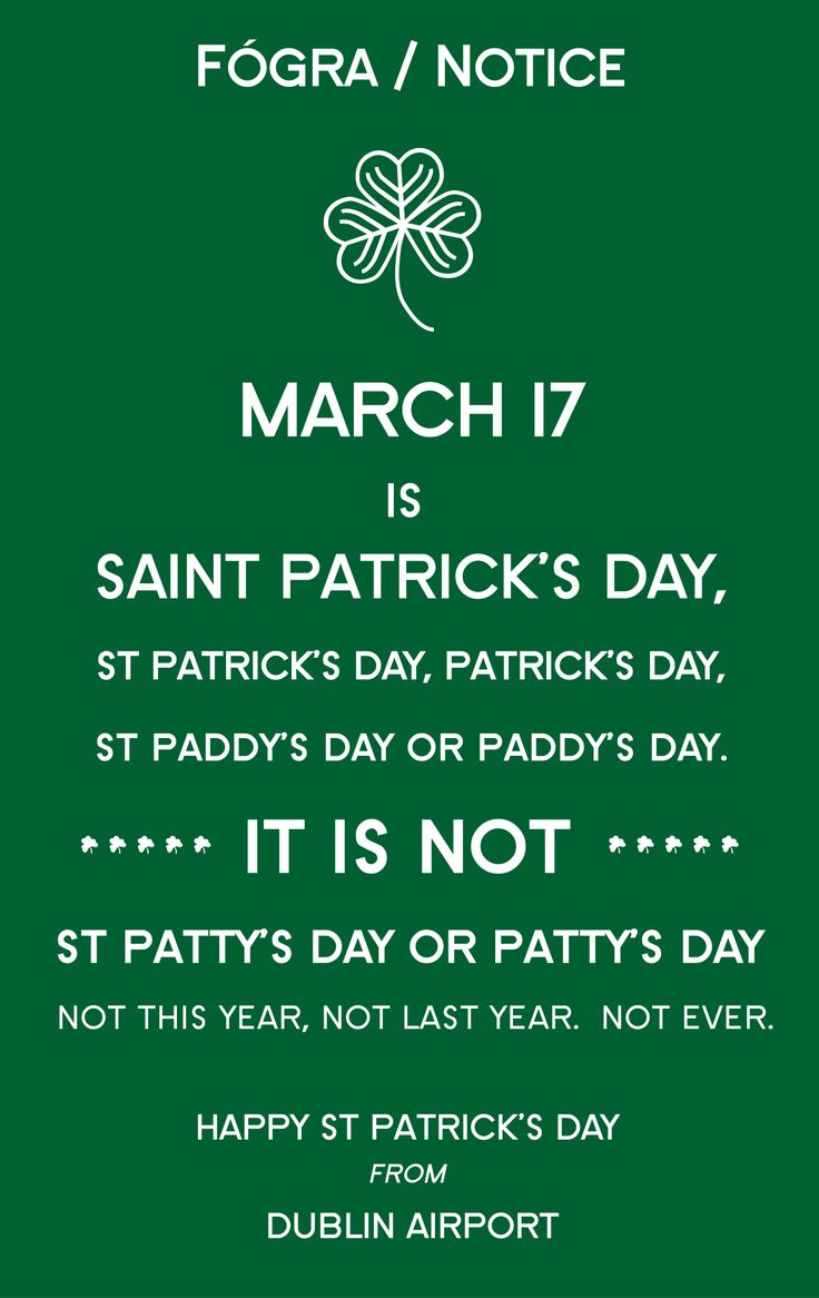 It's wonderful that people throughout the world celebrate our national holiday. Please though, can we get the name right.  There are 1,000 Pinterest board titled St Patty's Day, Saint Patty's Day or Patty's Day. There is much work to be done people. (Please note we are using the incorrect pattysday hashtags merely to spread the word)  #SaintPatricksDay #StPatricks #PaddysDay #StPatricksDay #StPaddysDay #PaddynotPatty #StPattysDay #PattysDay #SaintPattysDay