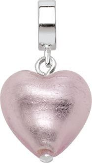 """Persona Italian Glass Sterling Silver """"Heart Warming in Pink"""" Charm H13419PM-02"""