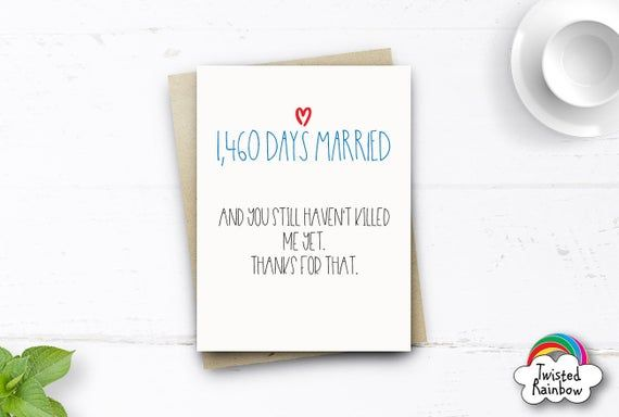 Funny 4th Anniversary Card 1460 Days Married Card Funny Etsy Funny Anniversary Cards Funny Wedding Anniversary Cards Anniversary Funny