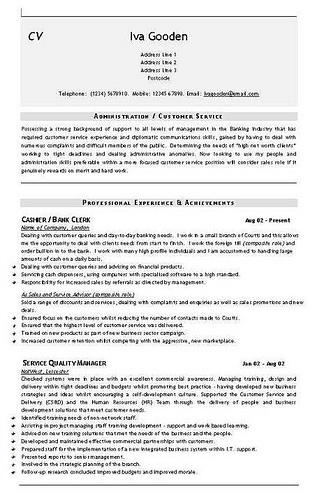 Admin Cashier Banking CV Template   cv templates   Pinterest ...