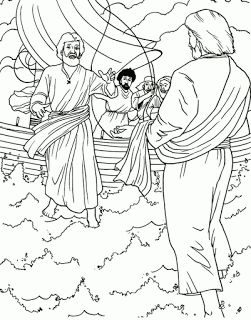 Miracle Coloring Page Of Jesus Walking On Water In The Sea Storm To Save Peter