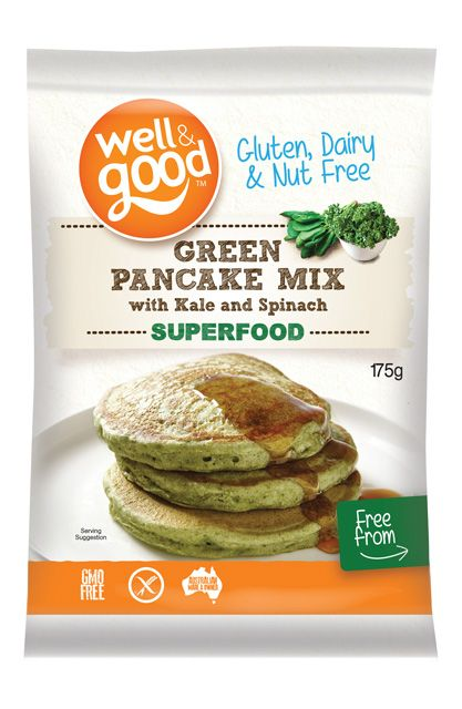 Kids and adults will love these green gluten free pancakes. Buy Green Pancake Mix with Kale and Spinach online from Well and Good.