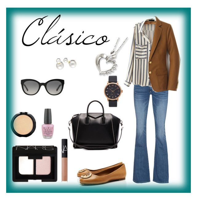 Clasico by carlablasco on Polyvore featuring moda, J.Crew, True Religion, Tory Burch, Givenchy, Allurez, Marc Jacobs, Burberry, NARS Cosmetics and LORAC