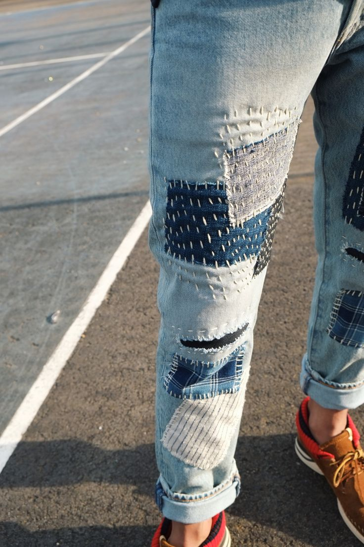 nawato patchwork jeans - levis 501 ct