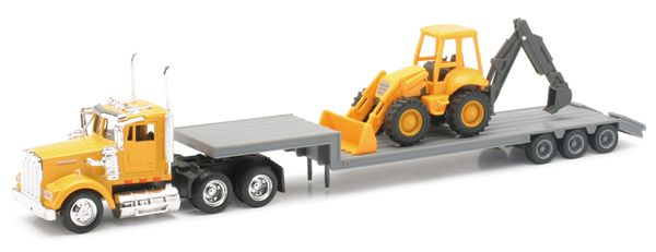 Trucks - NEW-RAY - 15303 - Kenworth W900 Truck Hauling a Backhoe Loader