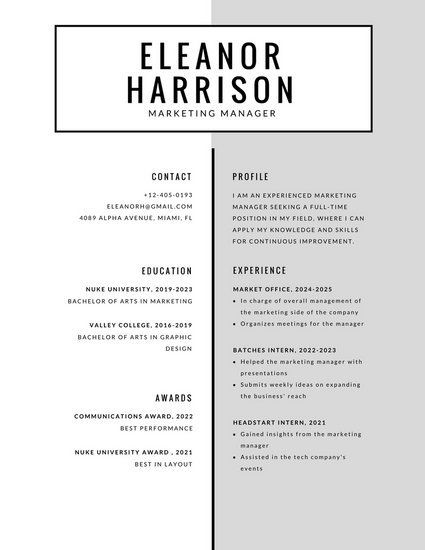 Tattoo Artists Black And White Minimal Simple Resume Template Templates Online Builder