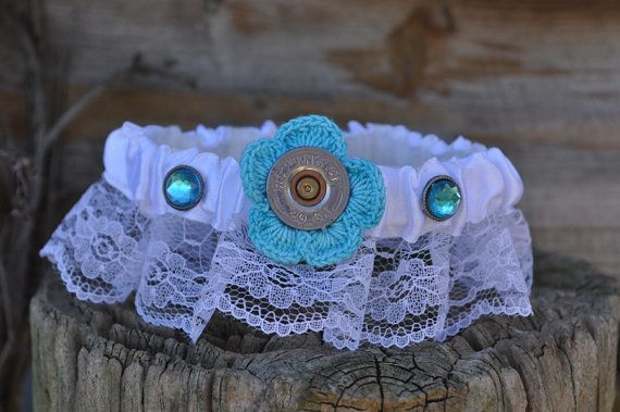 Shotgun Shell Lace Garter with Something Blue