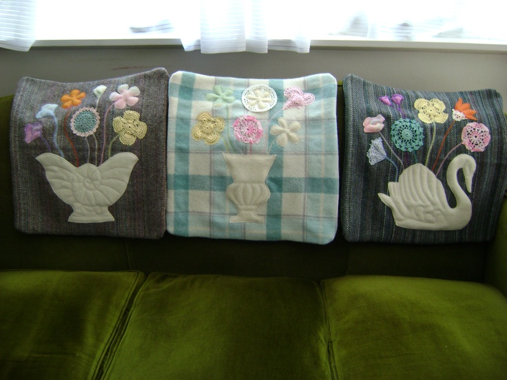 latest cushion covers made from old blankets and doilies.