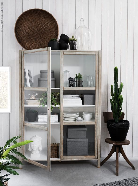 IKEA hack : Transform a modern display cabinet to vintage. Painted with light green and dark wax. To get the vintage look.