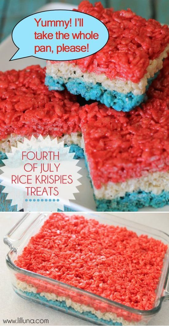 Red, White, and Blue Rice Krispies Treats are perfect for summer holidays like Memorial Day, Flag Day, or Fourth of July!