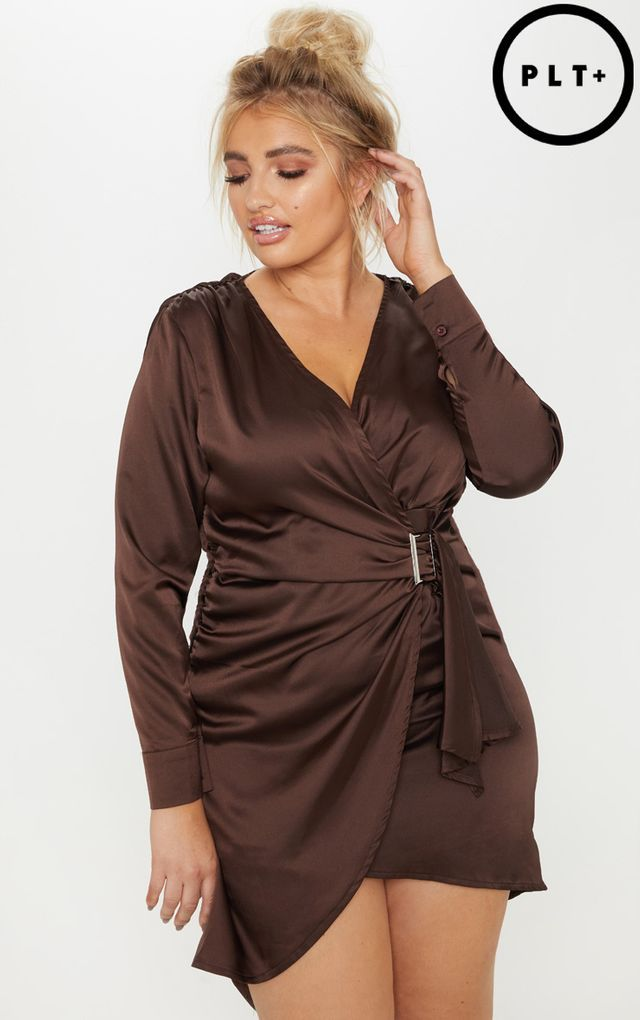 Plus Chocolate Brown Satin Ruched Tie Waist Dress | BIG girl ...