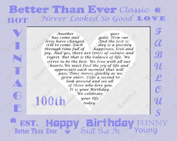 100th Birthday Gift Personalized Poem 8 X 10 by queenofheartgifts, $9 ...