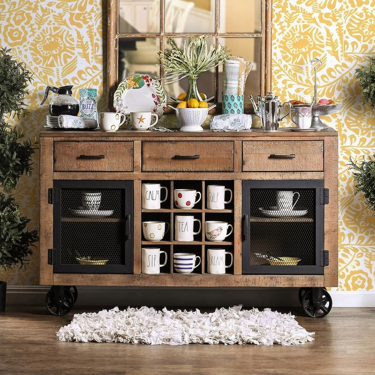 Furniture of America Matthias Industrial Rustic Pine Mobile Dining Buffet/Server - 18147489 - Overstock - Big Discounts on Furniture of America Buffets - Mobile