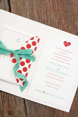 Michaels.com  Playful Heart Invite  Pearl Border Half-Fold Program Paper doubles as a playful invitation folder. Use simple printable invitations in bulk for the invite and reply card. Choose your favorite stamp and ink pad from Michaels extensive collection to create a playful punch for your envelopes. Secure using a contrasting ribbon to complete the look.