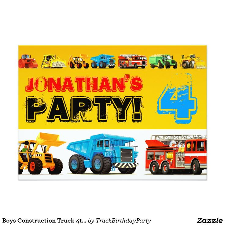 Boys Construction Truck 4th Birthday Party 5x7 Paper Invitation Card
