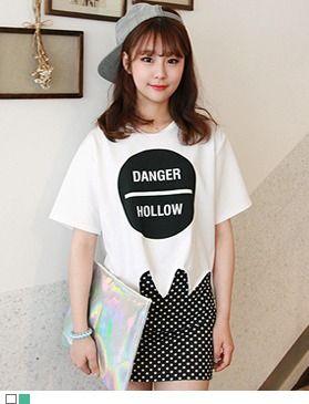 ユニークなカッティングTシャツ!! 裾のジグザグカッティングがポイントです。[Gogosing]
