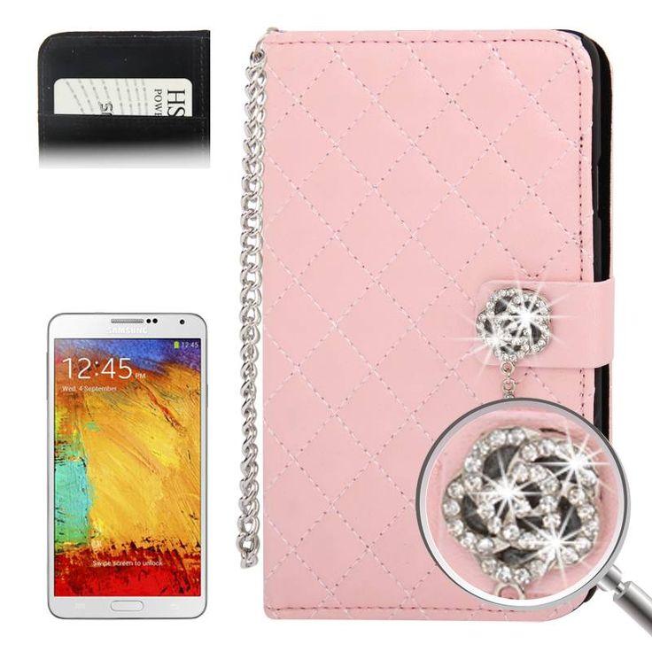 Roze Samsung Galaxy Note 3 Bookcase hoes met diamandlook sluiting