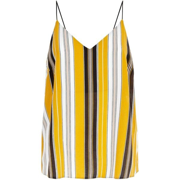 Yellow Chunky Stripe V Neck Cami Top ($21) ❤ liked on Polyvore featuring tops, v neck tank top, strappy tank top, spaghetti-strap tank tops, white v neck tank top and strappy cami