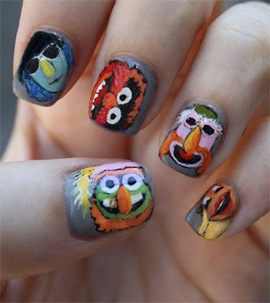 Melissa Garza-Allen painted her nails during an OPI contest week using The Muppets Band as her inspiration. How cool is this???!