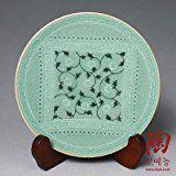 Celadon verde esmalte Arabesque Diseño Porcelana Cerámica Cerámica Pastel dulce merienda de frutas plato para servir Plato de acompañamiento
