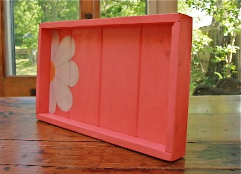 Crazy Daisy Peek a Boo tray available on Etsy at LUCYS GARDEN WOODEN WHIMSIES.