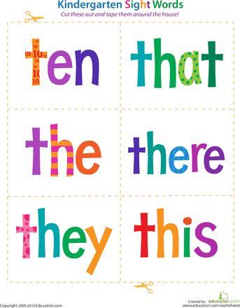 Worksheets: Kindergarten Sight Words: Ten to This