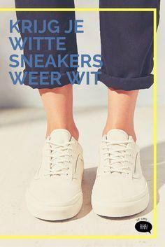 Sommige sneakers bestaan uit een witte stof, andere uit wit leder. Sommige vlekken zijn al wat ouder, andere dan weer recent. Even zoeken naar de juiste schoonmaaktechniek!