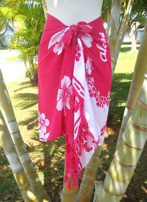 Sarong Red Black Hibiscus Hawaii Hawaiian Pareo Cruise Beach Pool Wrap Dress