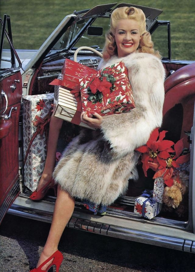 Vintage Christmas still with Betty Grable.   CUTE SHOES CUTER CAR CUTE CUTE CUTE GIRL..LOVE HER and ALL her movies