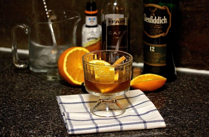 """WHISKY STIR:  A simple stir & strain cocktail, the """"Single Sin"""" cocktail is perfect for hump day happy hour. Mixed with Glenfiddich 12 yr single malt scotch whisky, Fair Café coffee liqueur, cinnamon syrup and orange bitters. Recipe on the blog."""