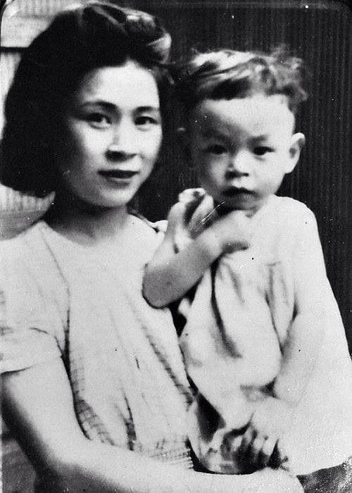 Hayao Miyazaki and his mother, Dola Miyazaki