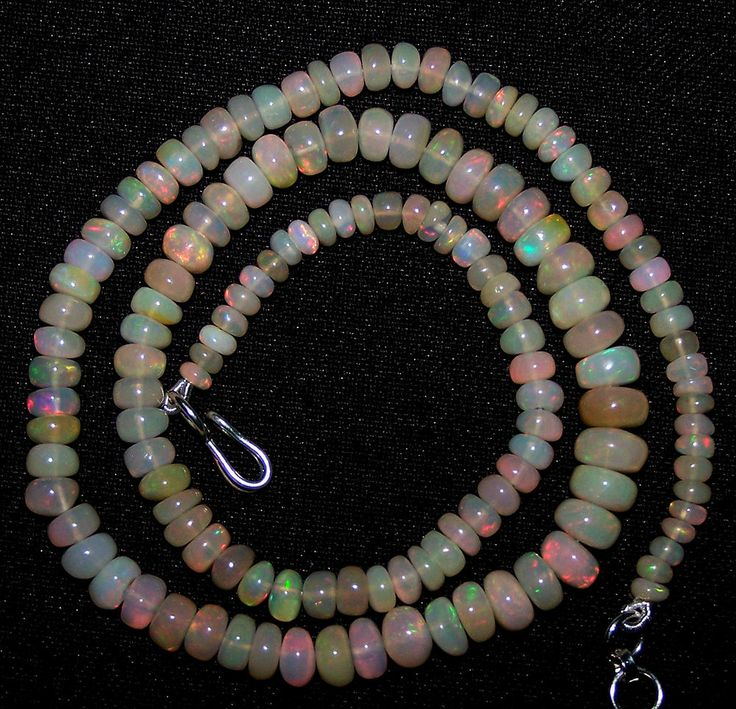 53.80 Ct Red,Orange,Green Fire Ethiopian Welo Opal 3.5-6.6 MM AAA Necklace 16 ""