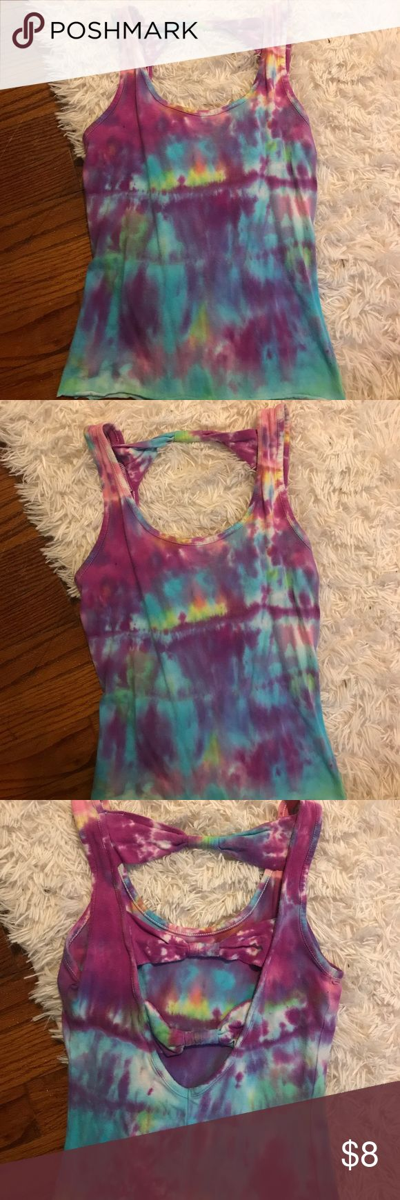 Tie-dye Crop Top Fun & Funky | Cut myself | Bows in the Back | Adorable | Soft and Comfortable | not too short of a crop | Great for festivals or parties | DIY shirt so don't expect perfection 😇 Poof! Tops Crop Tops