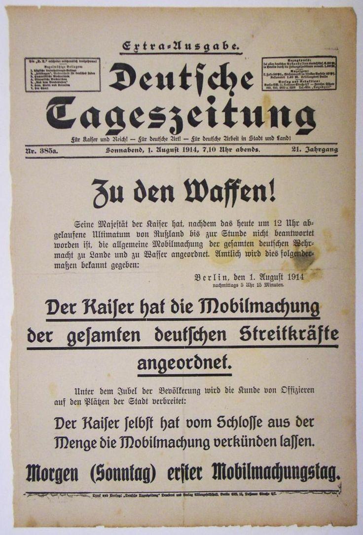"""Extra-Ausgabe der """"Deutschen Tageszeitung"""" zur Anordnung Kaiser Wilhelms II. über die Mobilmachung der gesamten deutschen Streitkräfte Berlin, 1. August 1914"""