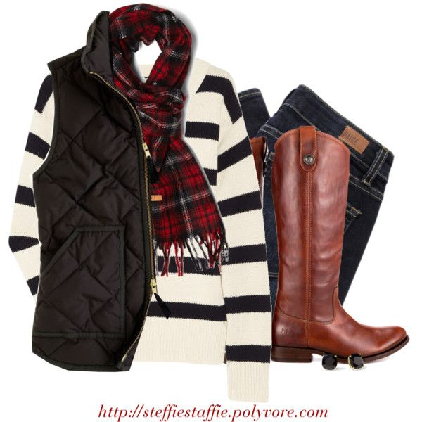 """J.crew striped sweater, Tartan scarf & Frye boots"" by steffiestaffie on Polyvore"