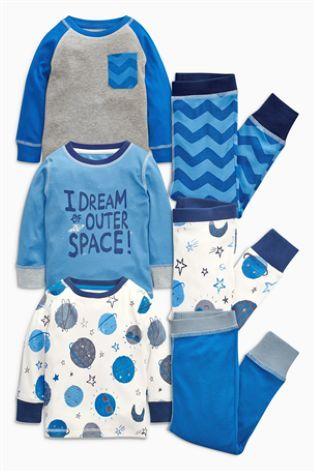 Three Pack Blues Planets Snuggle Pyjamas (9mths-8yrs) from Next