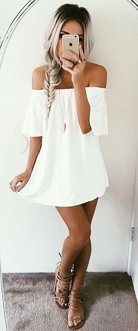 100 Summer Outfits to Wear Now #summer #fashion / off-the-shoulder white dress