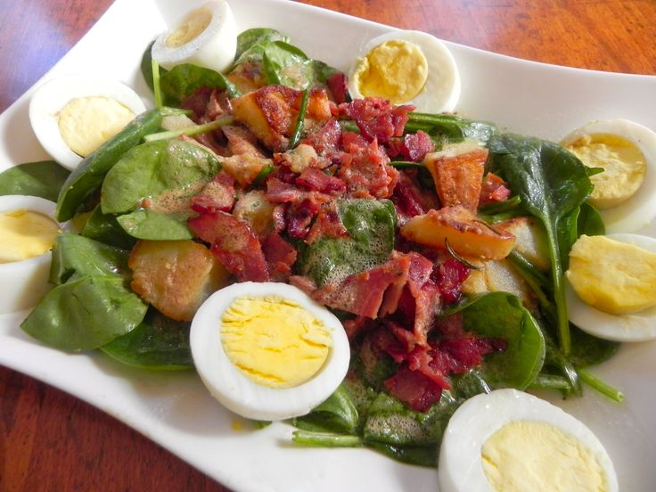 Warm Spinach Salad with Bacon and Eggs - steam or fry the spinach and ...
