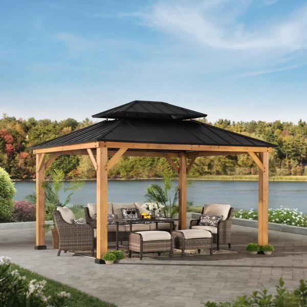 Sunjoy Archwood 12 Ft X 10 Ft Cedar Frame Gazebo With Double Tier Steel Roof Hardtop A102007500 In 2020 Backyard Pavilion Backyard Gazebo Gazebo