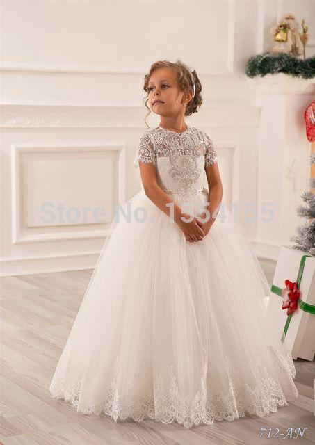 Hot vente blanc ivoire dentelle première Communion robes pour filles 2016 perles saint Pageant boule robes robes de demoiselle pour les mariages