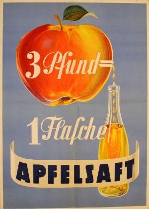 Apple Juice, 1930s - original vintage poster listed on AntikBar.co.uk