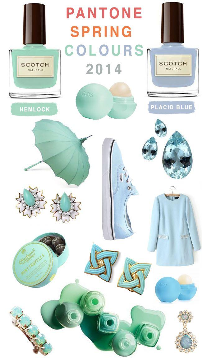 These are pretty fabulous too!!  Pantone Spring Colors 2014 #PlacidBlue #Hemlock