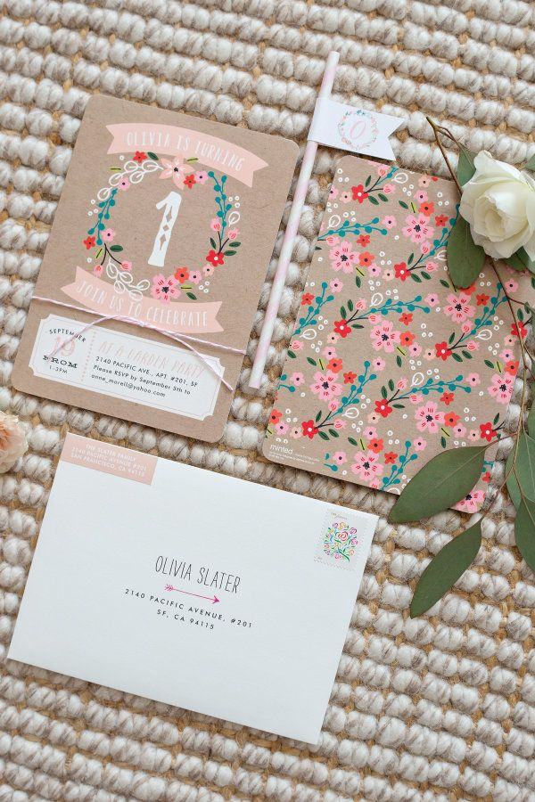 Floral printed first birthday invitations: http://www.stylemepretty.com/living/2015/11/13/garden-party-first-birthday/ | Photography: Modern Kids - http://www.modernkids.com/