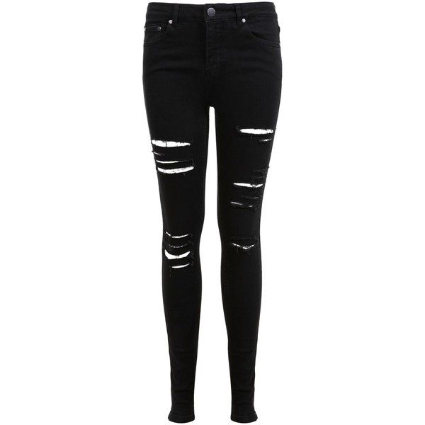 Miss Selfridge Lizzie Shredded Jeans, Black ($62) ❤ liked on Polyvore featuring jeans, pants, bottoms, trousers, skinny leg jeans, ripped jeans, black super skinny jeans, destroyed jeans and mid rise skinny jeans