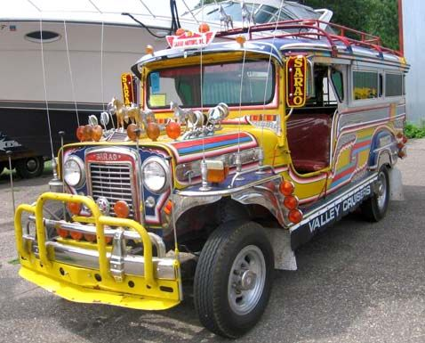Jeepney- When American troops began to leave the Philippines at the end of WWII, hundreds of surplus jeeps were sold or given to the Filipinos; they stripped them down and altered or customized the jeeps to accommodate more passengers, added metal roofs for shade, and decorated the vehicles with vibrant colors and bright chrome hood ornaments.